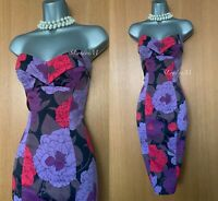 KAREN MILLEN UK 10 Purple Red Roses Sweetheart Strapless Cocktail Wiggle Dress