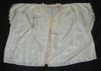 Antique Handmade Silk Shawl Blouse Pearl White Peach Lace Trim One Size 1900's