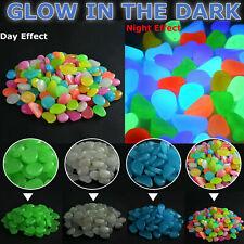 100 Glow In The Dark Pebbles Luminous Stones Garden Walkway Aquarium Fish Tank.