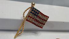 Vintage Rhinestone Goldtone America Flag Brooch