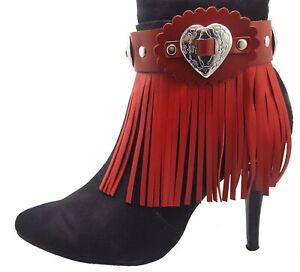Red Leather boot bracelet - fringe boot cuff - Heart Boot Jewelry Valentines day