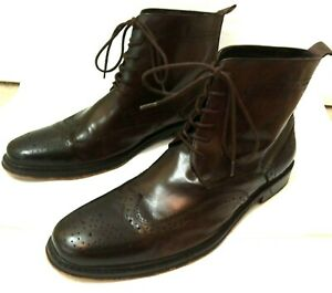 HANDMADE-GENLI Brown Leather Wingtip Men's Lace Up Ankle Boots Size 45 US 12