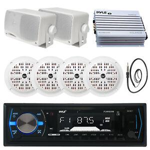 "PLMRB29B Bluetooth USB Boat Radio, 400W Amp, Antenna, 3.5"" Speakers, 4"" Speakers"