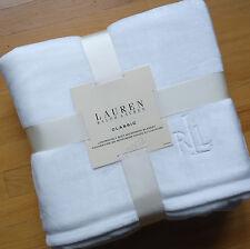 Ralph Lauren WHITE Micromink *FULL QUEEN BED BLANKET Fleece mink RL Emb Logo NEW