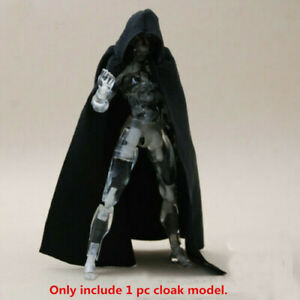 """1:12 Scale Black Cape Cloak Model with Hat for 6"""" Action Figure Body Doll"""