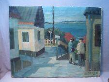 Oscar Wilhelm Lüthy (1882-1945) Modernist Swiss Oil Painting Village Scene 1940s