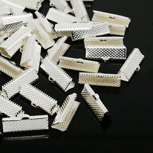 LOT de 30 EMBOUTS PINCES ARGENTE ATTACHE RUBAN à griffes gros grain 20x7mm perle