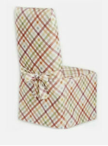 Autumn Gingham Printed Fabric Dining Room Chair Cover New Orange Green