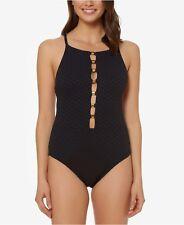 NWT Bleu Rod Beattie Swimsuit One 1 piece Sz 8 Off the Grid High Neck Black