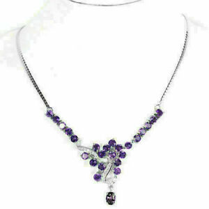 Necklace Purple Amethyst Genuine Natural Gems Solid Sterling Silver 18 Inch