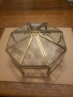 VINTAGE RETO TIFFANY STYLE GLASS LAMP SHADE CLEAR WITH GOLD EDGES