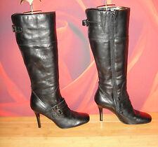 *55* Stunning Black leather Barratts knee heel  boots  EU 38 UK 5