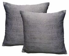 Pack of 2 Light Purple Distressed Look Woven Design Cushion Covers