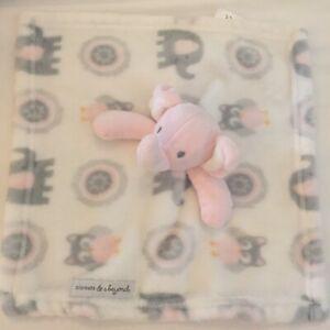 Blankets & Beyond Girls Pink Gray Elephant Owl Fleece Lovey Security Blanket