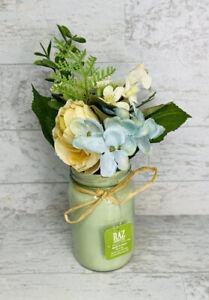 Rose, Hydrangea Floral Arrangement in Aqua Mason Jar
