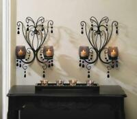 2 Black iron scrollwork crystal chandelier CANDELABRA wall Candle holder sconce