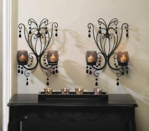 2 Black iron scrollwork crystal chandelier CANDELABRA wall Candle holder sconce