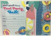 POOL PARTY INVITATIONS FOR KIDS - SUMMER PARTY, BIRTHDAY 25-PACK w ENVELOPES NEW