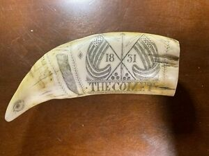 "SCRIMSHAW WALRUS TUSK ""THE COMET"" 1831 VINTAGE RESIN REPLICA"