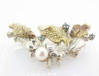 .Vintage Kabana Fish Coral & Shell 14K Gold & Sterling Silver Sliding Pendant