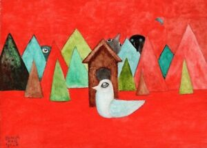 """ACEO """"Strange Landscape No. 3 (The Red Forest)"""" by Joseph Ray York (2.5x3.5in.)"""