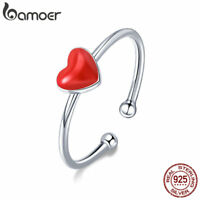 Bamoer Authentic .925 Sterling Silver Ring Enamel Red Heart For Women Jewelry