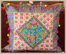 "Hand Crafted Silk Recycled Embroidered Patchwork 24"" Pillow Cover from India"