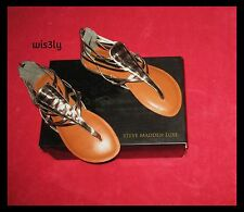 NIB Steve Madden Luxe Metallic Pewter Gladiator Strappy Flat Sandals 6.5
