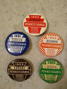 Five Pennsylvania Resident Citizen's Fishing Licenses 1950-1954