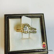 Women Wedding Yellow Gold Fn Lab Round Diamond Engagement Bridal Ring Set 1.30Ct