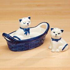 BRAND NIB Glazed Ceramic BLUE/WHITE Pair of CATS SALT/PEPPER SHAKERS in BASKET