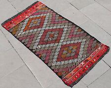 Turkish Kilim Rug 22''x39'' Hand Woven Adana Cicim Kilim 58x100cm