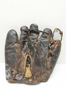 NICE VINTAGE ANTIQUE GOLD SMITH 5 FINGER EARLY BASEBALL BUCKLE GLOVE