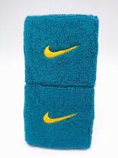 "Nike Swoosh Wristbands Radian Emerald/Laser Orange 3"" Men's Women's"