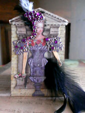 NEW Unique altered Purple Marie Antoinette Aceo/ATC layered jewels feather