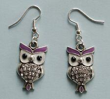 Earrings #710 OWL LILAC Purple (27mm x 15mm) Rhinestones Diamontes Silver Tone