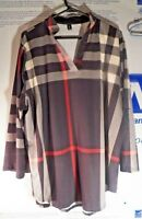 Real Nice Sheshares 4X Women's Slip On Blouse Black White & Red Checked /Stripes