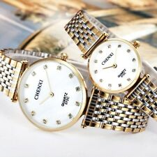 Most Popular Waterproof Men`s & Women`s Thin Yellow Gold Crystal Quartz Watches