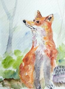 original watercolor painting ACEO fox animal rural forest wildlife foliage SIBY