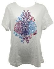 Sansara Ladies Crew Neck T-Shirt   White   Yoga Peace Design