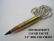 Replica .300 Blackout (.300BLK) Brass Bullet necklace w/ Barnes TAC-TX bullet!!