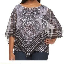 Women's Plus Size 1X Black Gray Print Poncho Top And Tank Embellished Sheer NWT