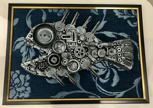 3D Collage Steam pack of metal parts watch,keys Handmade.Pano.Gobelin tapestry