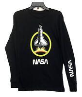 NASA Official Logo Space Rocket Men's Licensed Long Sleeve T-Shirt Black New