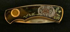 Franklin Mint Collector Knives Siberian Tiger with Black Case & Coa