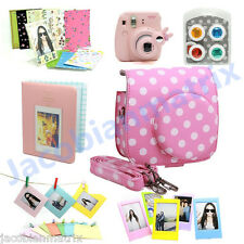 Gmatrix Fujifilm Instax Mini 8 Case Bag Accessory Bundle Set Best Gift Pink&Whte