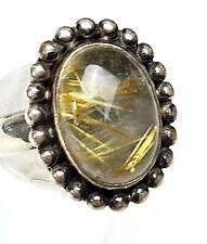 Vintage Silber Ring 80th - 925 Silber Rutilquarz Goldrutil - RG 59/18,8 mm A 501