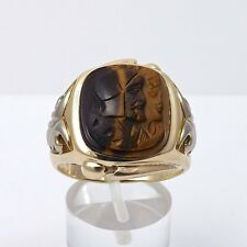 Victorian 10k Gold Carved Tiger Eye Roman Soldier Cameo Ring Sz 11.5