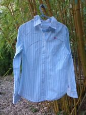 LADIES SUPERDRY BLUE STRIPED SHIRT SIZE 10 VERY GOOD CONDITION