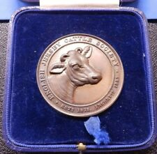 Bronze Medallion English Jersey Cattle Society Prize Medal Cased 1928 Shows Cow